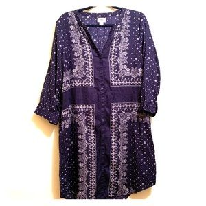 Old Navy Paisley Button Up Dress | Large |